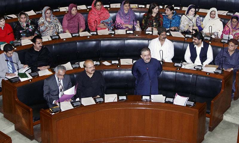 Provincial Minister for Information, Sharjeel Inam Memon  addresses during minutes of session.  — Photo by PPI