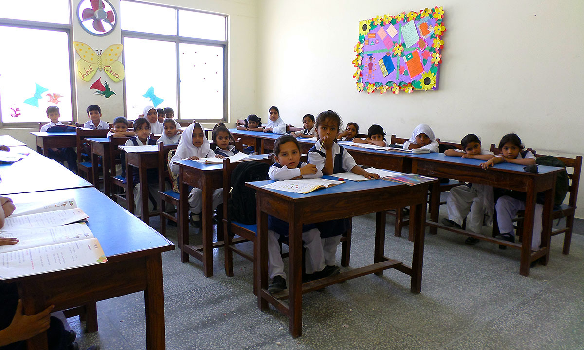 Girls outnumber boys at Bahria Model School, Ormara. —Photo by author