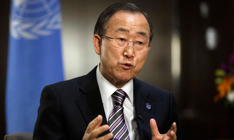 اقوام متحدہ کے سیکرٹری جنرل بان کی مون  --  فائل فوٹو۔۔۔۔