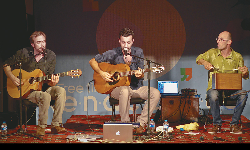 Alexandre Deschamps, Samuel Galliene and Guillauine Barre of the French Studio Nomade gypsy group perform at the Alliance Francaise Karachi on Saturday evening.—White Star