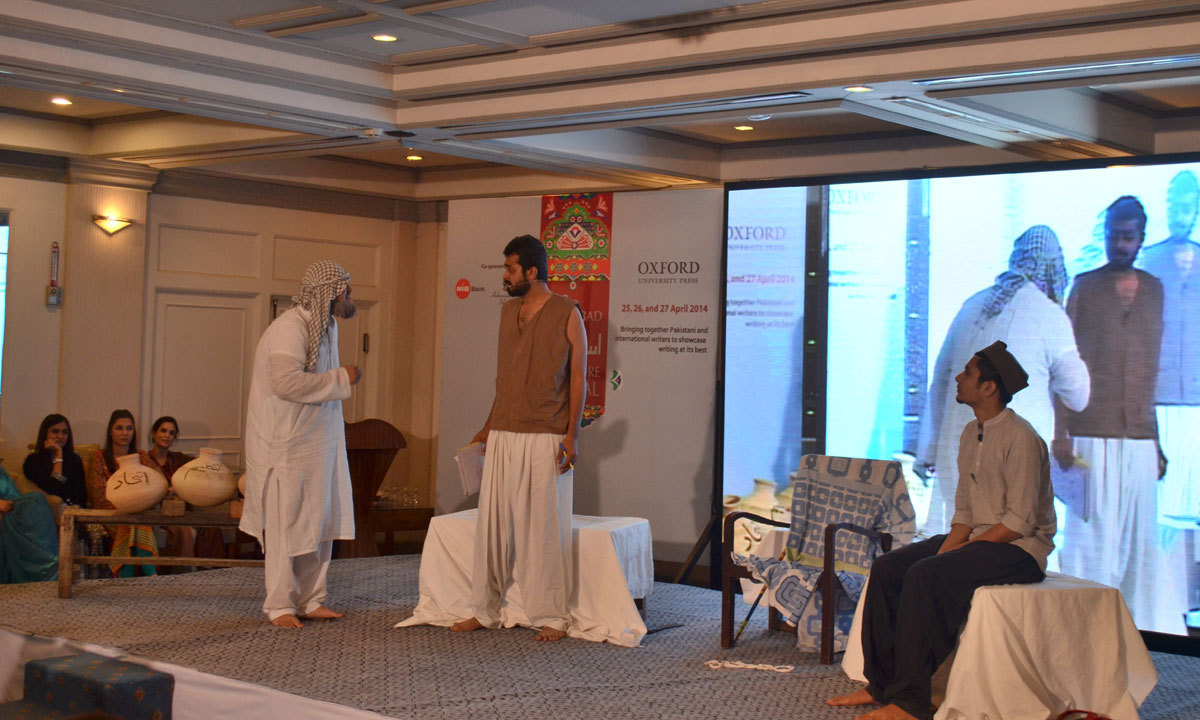 Artists from the Repertory Theatre are performing in the play on Taleem e Balighan on the third day of ILF. – Photo by Irfan Haider