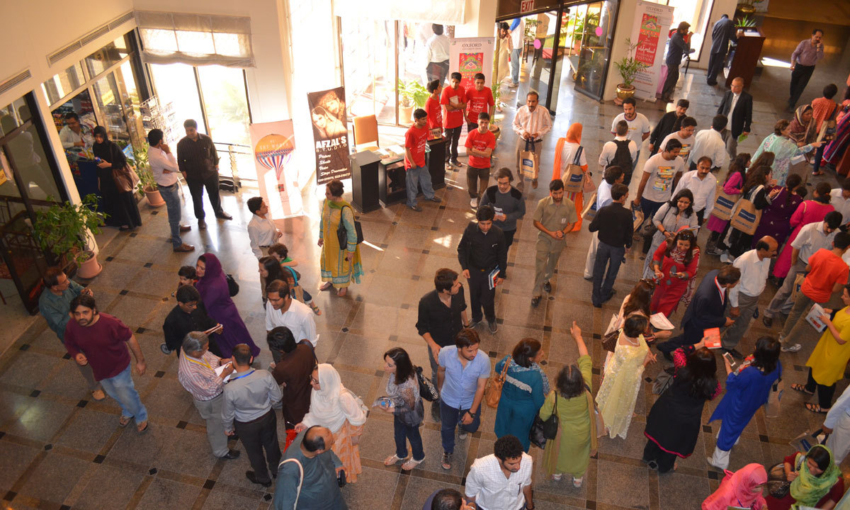 Visitors are seen crowding the halls of the Margala Hotel during the ILF. – Photo by Irfan Haider
