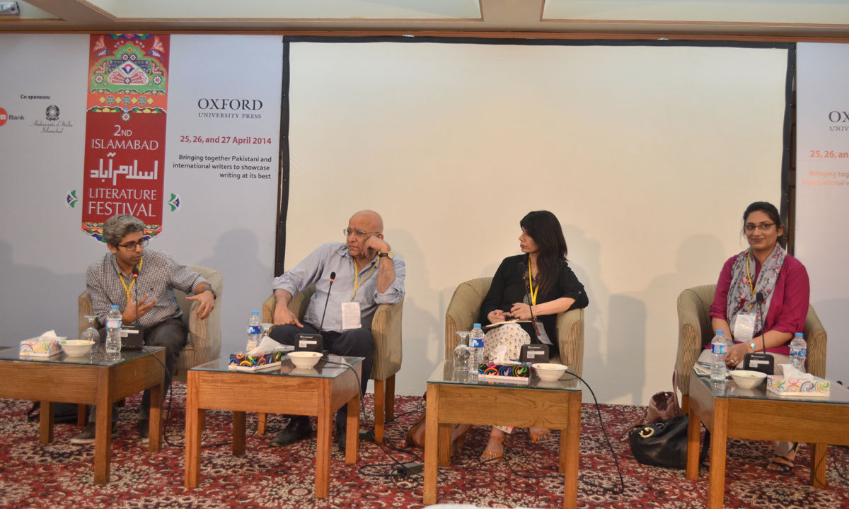(From Left to Right) Bilal Tanweer, Aamer Hussein, Sabyn Javeri and Bina Shah are discussing about 'Talking and Reading Short Stories during a session on Third day of ILF. – Photo by Irfan Haider