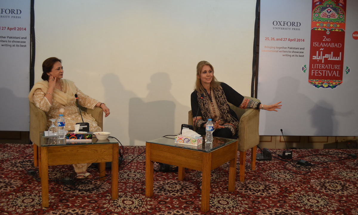 Navid Shahzad in conversation with Kristiane Backer who in a session titled 'From MTV to Mecca' on third day of ILF. – Photo by Irfan Haider