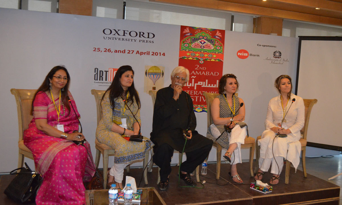 Zainab Omar, Shireen Ikramullah, Rasheed Butt, Rumana Husain and Asma Rashid are discussing about 'Evolving landscapes for galleries and Collectors on third day at ILF. – Photo by Irfan Haider