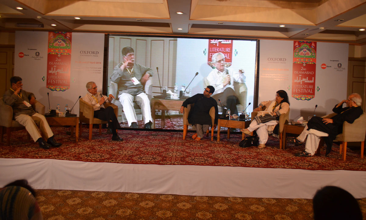 Asghar Nadeem Syed, Masood Ashar, Sarmad Khoosat and Zaheda Hina discussing the life of Manto after the preview of the film on Sadat Hassan Manto. – Photo by Irfan Haider
