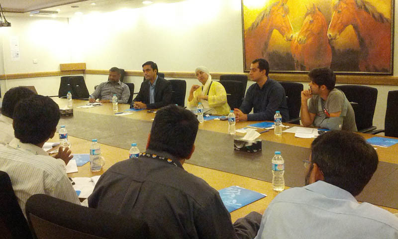 Irfan Wahab Khan (2nd from left), speaking at Telenor Pakistan's information session. — Courtesy Photo