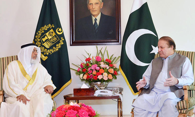 Prime Minister Nawaz Sharif meets with Khalifa Bin Ahmed Al-Dhahrani, Chairman of the Council of Representative of Kingdom of Bahrain at PM House in Islamabad on Tuesday. – INP Photo