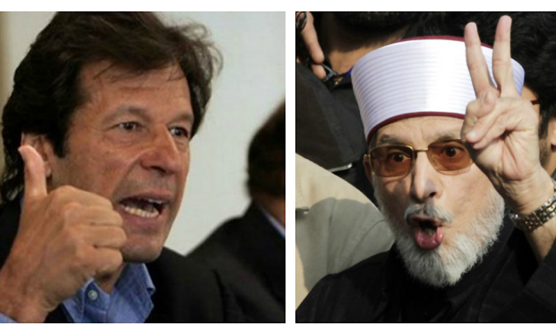 PTI Chairman Imran Khan and PAT chief Tahirul Qadri -File Photo