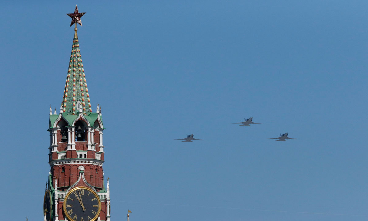 Russian military planes fly above the Kremlin during the Victory Day parade in Moscow's Red Square. – Photo by Reuters