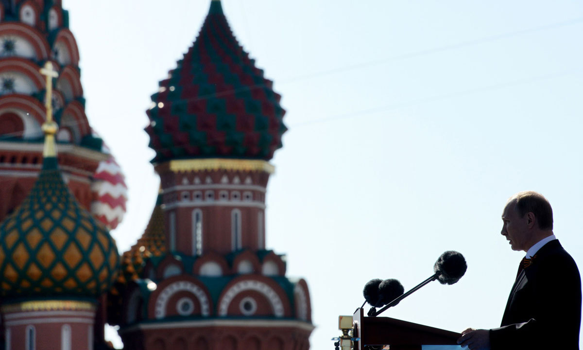 Russia's President Vladimir Putin speaks at the Red Square in Moscow. – Photo by AFP