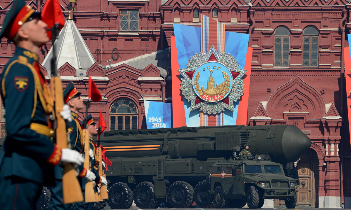 A Russian Topol-M intercontinental ballistic missile launcher drives at the Red Square in Moscow. – Photo by AFP