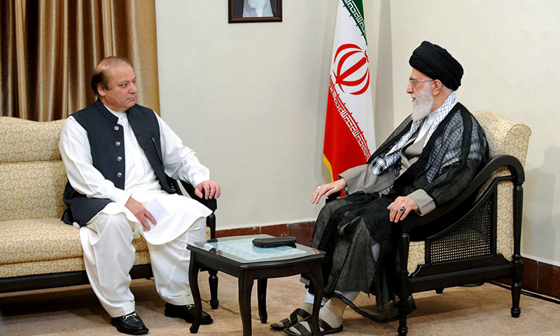 In this picture released by an official website of the office of the Iranian supreme leader, Supreme Leader Ayatollah Ali Khamenei, right, meets Pakistani Prime Minister Nawaz Sharif in Tehran, Iran, Monday, May 12, 2014. — Photo by AP
