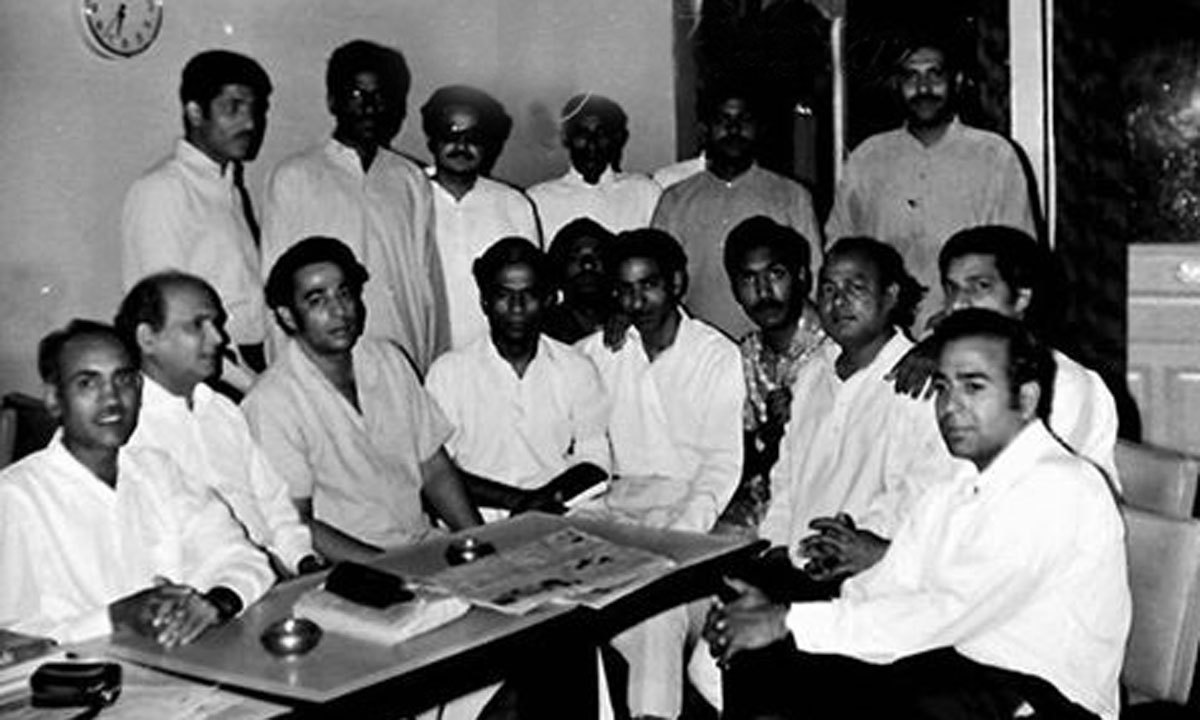 Gathering of Pak Tea house patron including Habib Jalib( Bottom third from right).
