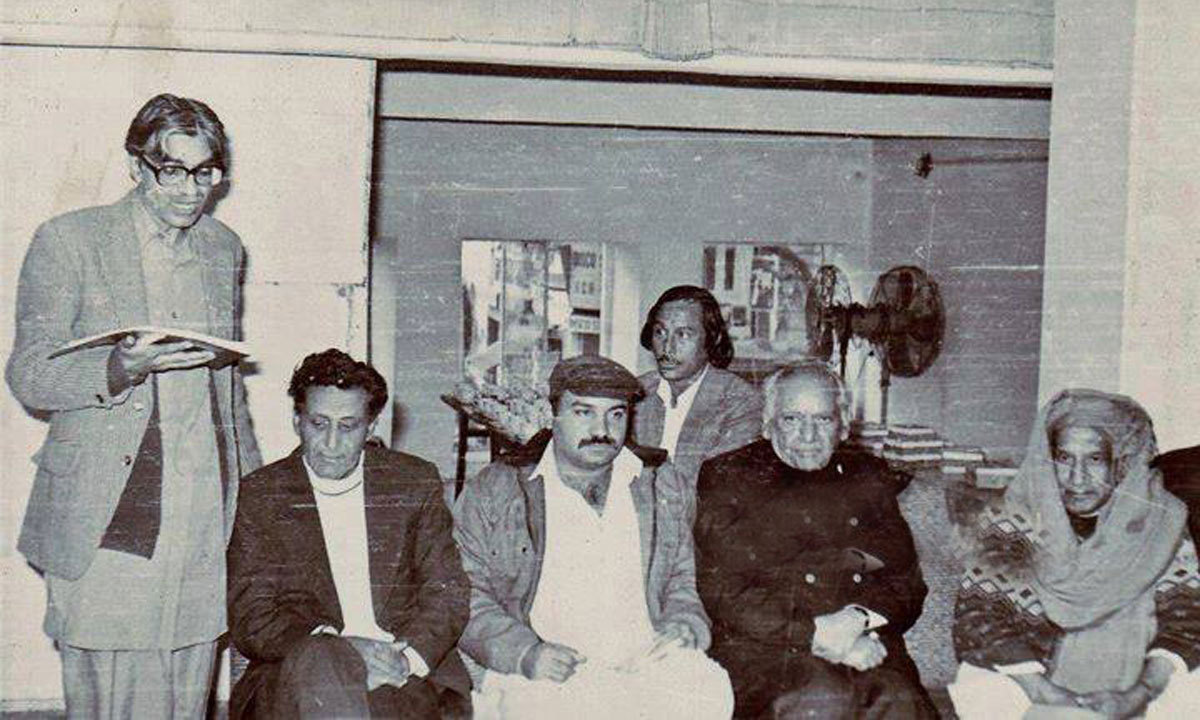 An assembly of poets including Faiz Ahmad Faiz (Second from right).