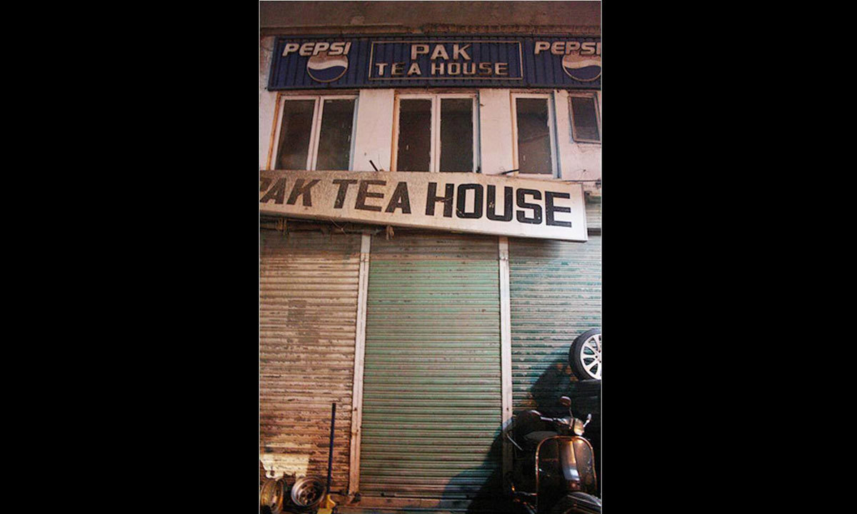 The facade of the Pak Tea House during its abandonment.