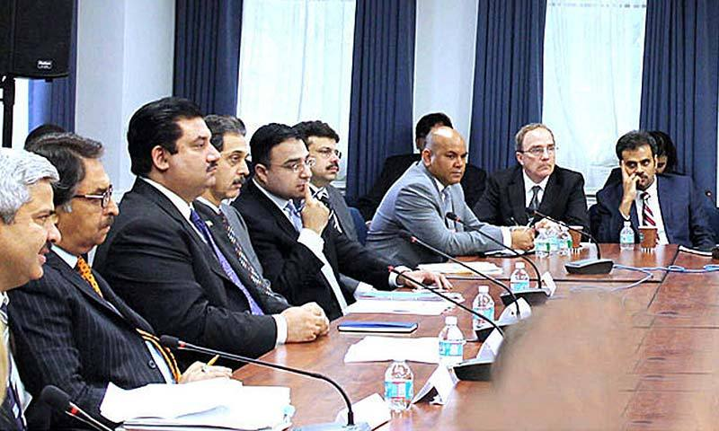Commerce Minister Khurram Dastgir Khan addressing the participants of Business Roundtable conference on the textile and apparel sector at USTR office. -Photo by APP