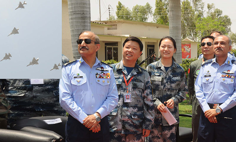 Air Chief Marshal Tahir Rafique Butt witnesses Shaheen-III drills with Pakistani and Chinese officers at an operational base in Pakistan on Saturday. – Photo provided by author