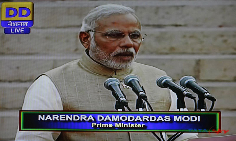 In this frame grab taken from Indian state television Doordarshan, Narendra Modi takes the oath of office as he is sworn in as India's Prime Minister in New Delhi on May 26, 2014.—AFP PHOTO