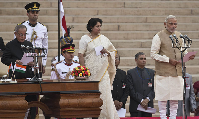 Narendra Modi takes oath as new Prime Minister of India in New Delhi on Monday. – AFP Photo