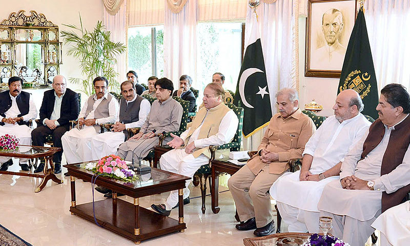 Prime Minister Nawaz Sharif chairs a meeting with Parliamentarians from Sindh who called on him at PM House in Islamabad on Wednesday. – APP Photo
