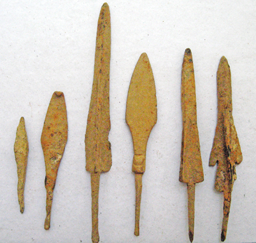 Iron arrow and spearheads.
