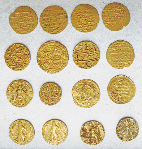 Coins from the Kushan and Islamic period.