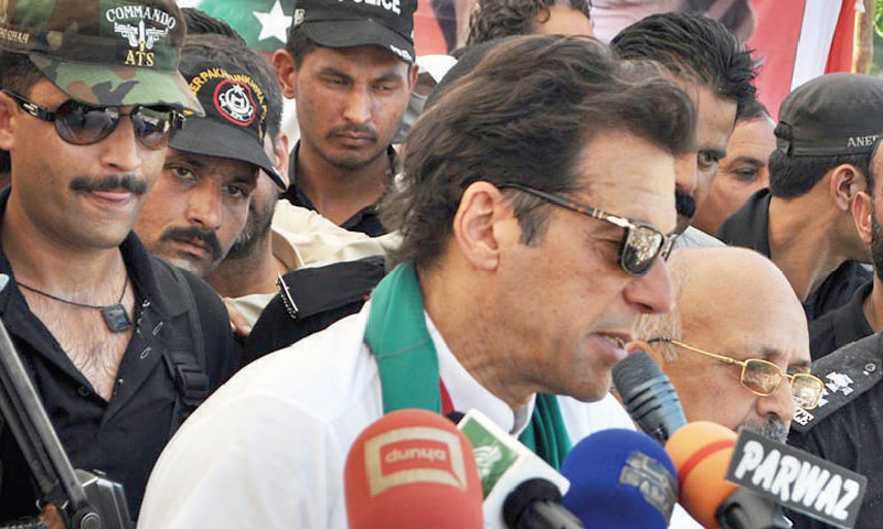 Imran Khan addressing an election rally in Abbottabad on Tuesday. — Online