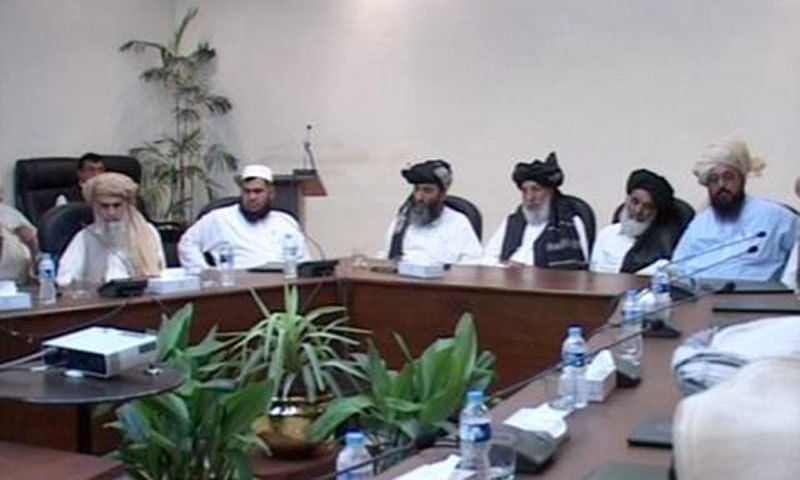 Members of Utmanzai Wazir and Dawar jirga meet with Governor KP Sardar Mehtab Ahmed Khan (unseen) at Governor House in Peshawar on Friday. – Photo by author