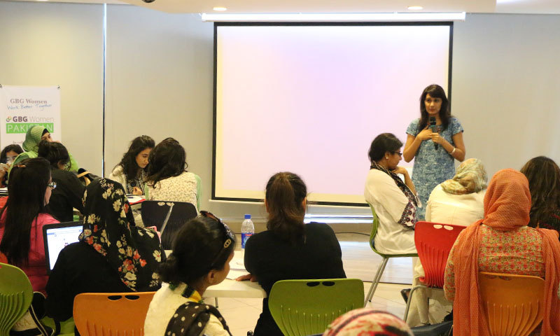 An event organised by Google Business Group Women in session at the Dil Kusha Forum in Karachi on Saturday. - Photo by Kurt Menezes