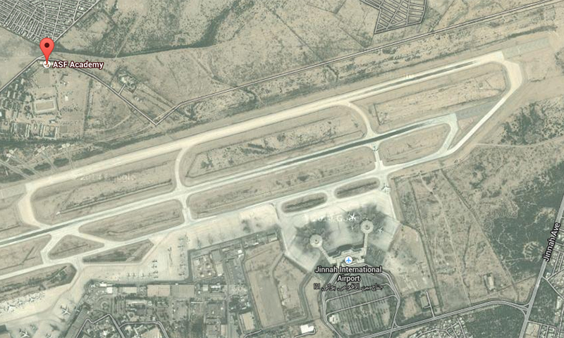 Google Map shows location of ASF Academy in proximity of Jinnah International Airport.