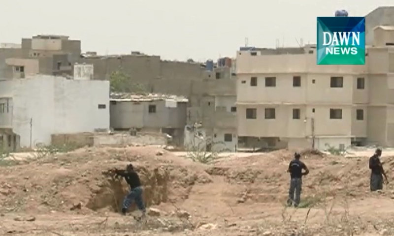 Screen shot of footage shows ASF personnel taking positions near ASF Academy as militants stormed the premises on Tuesday.