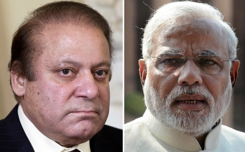 Prime Minister Nawaz Sharif (L) and Indian premier Narendra Modi (L). — File photo