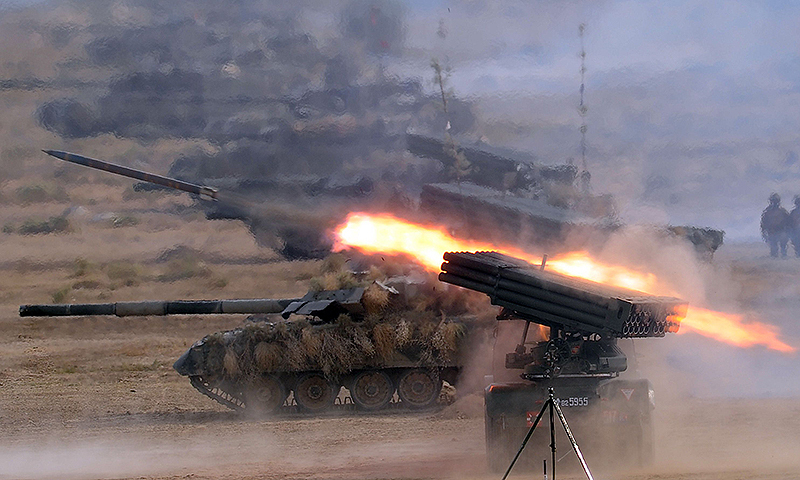 Pakistani soldiers use multi-barrel rocket launchers to hit their targets during a military exercise. – AFP File Photo