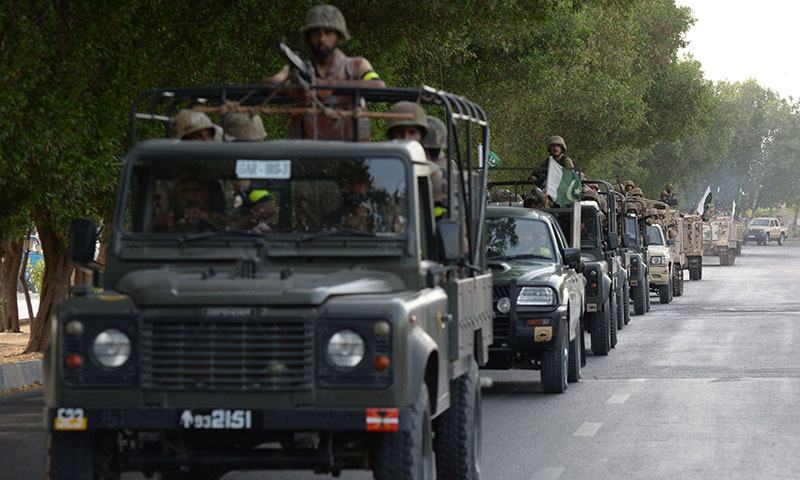 Pakistani army soldiers deploy in Karachi on June 16, 2014.— Photo by AFP
