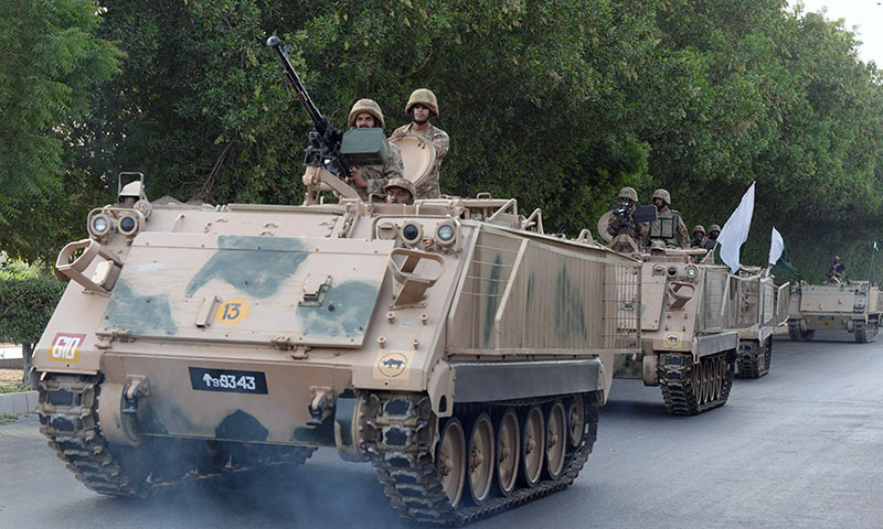 Pakistani army soldiers deploy in Karachi on June 16, 2014. — Photo by AFP