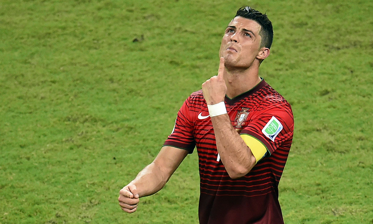 Portugal's forward Cristiano Ronaldo reacts during a Group G football match between USA and Portugal at the Amazonia Arena in Manaus during the 2014 FIFA World Cup on June 22, 2014. — Photo by AFP