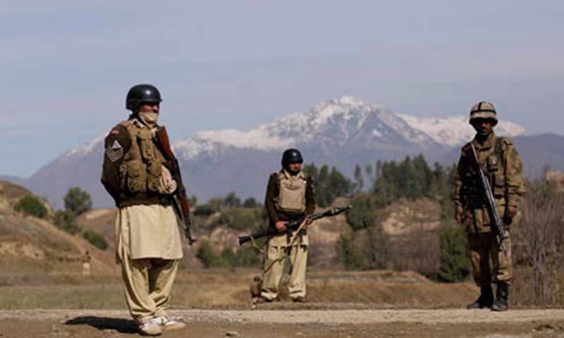 Member of security forces are seen in Mohmand tribal region.  — File photo