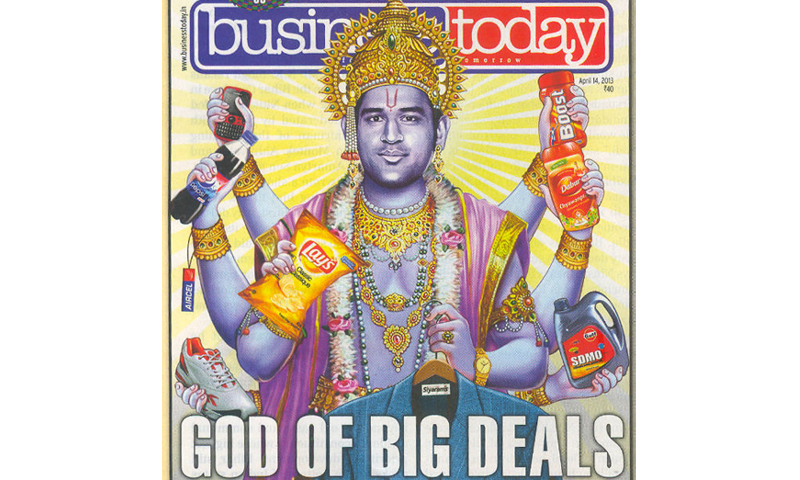 MS Dhoni appeared in the Business Today magazine posing as Hindu god Vishnu
