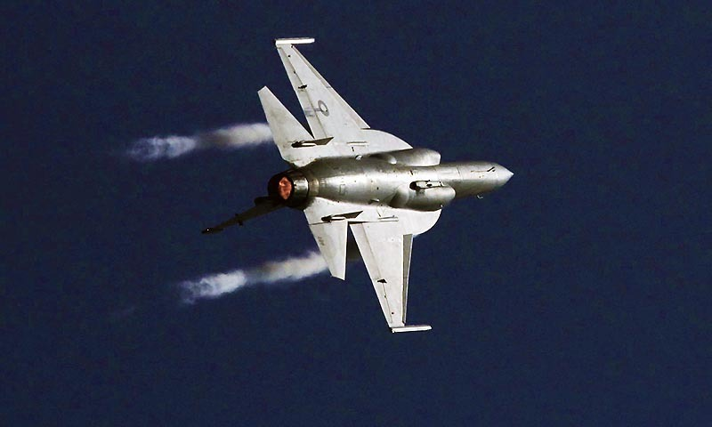 A Pakistan Air Force (PAF) JF-17 Thunder soaring high in the sky. — File photo by PPI
