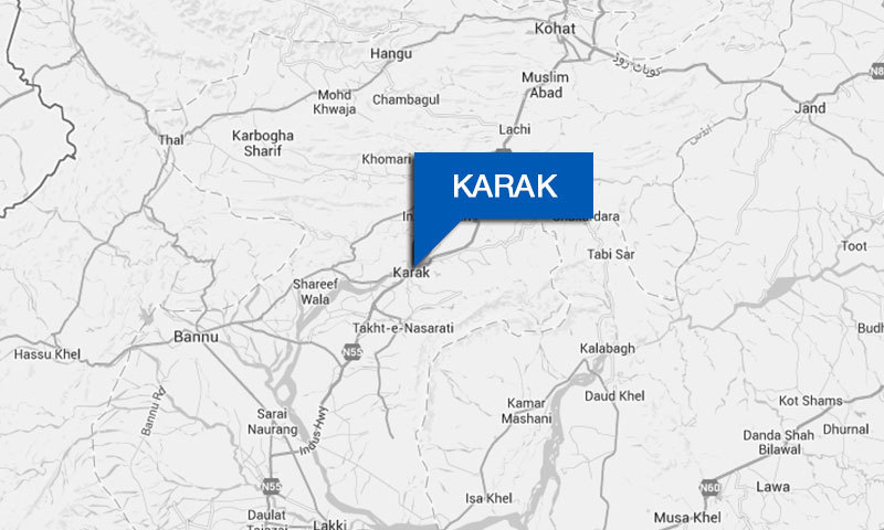 Map shows location of district Karak in Pakistan.