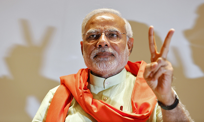 """""""I have heard about the film Gravity. I am told the cost of sending an Indian rocket to space is less than the money invested in making the Hollywood movie,"""" Narendra Modi said. — Photo by Reuters"""