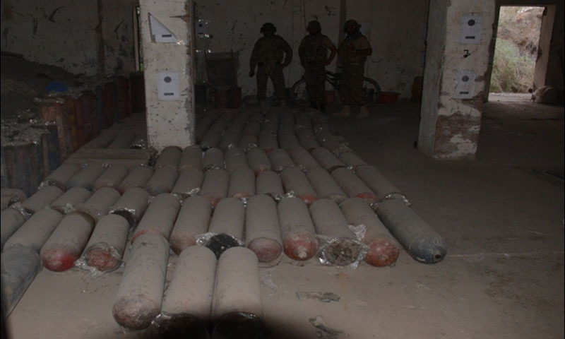 Explosives and cylinders recovered  — Photo by Mateen