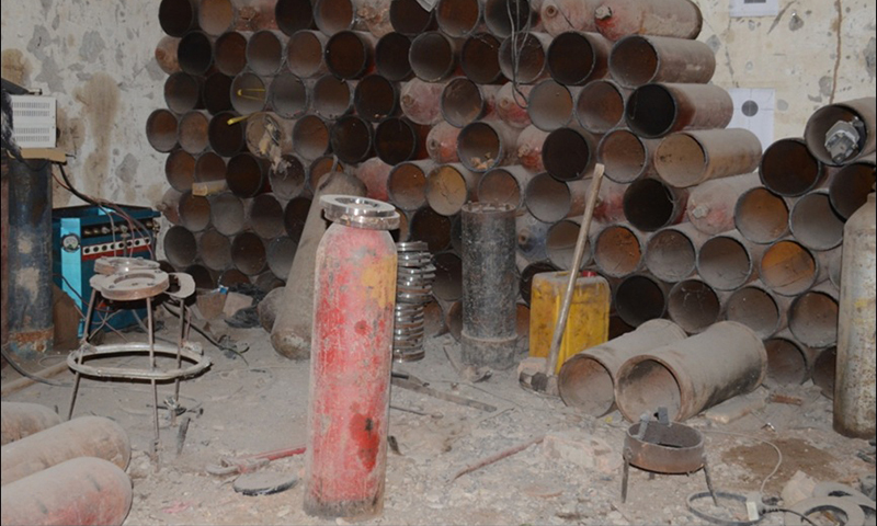 Explosives, pipes and cylinder  — Photo by Mateen Haider