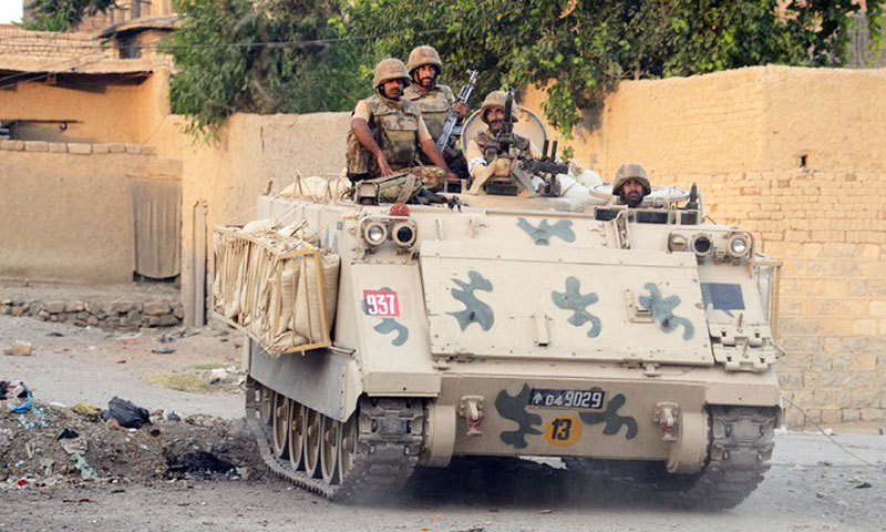 A Pakistan Army tank patrols a suspected militant area in North Waziristan. – Photo by ISPR
