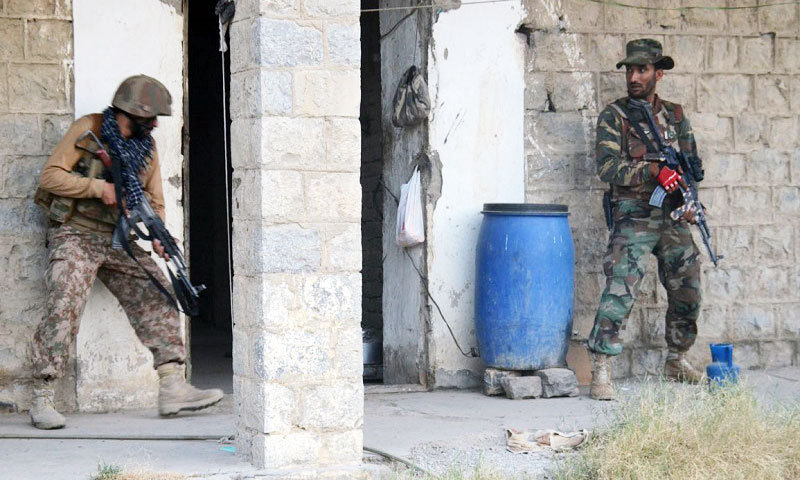 Pakistan Army troops raid a suspected militant hideout in North Waziristan. – Photo by ISPR