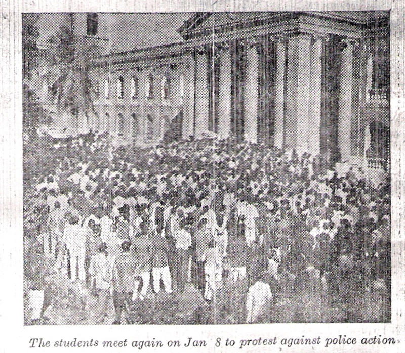 A newspaper photo of Democratic Students Federation members protesting against the government at Karachi's DJ Science College in 1953.
