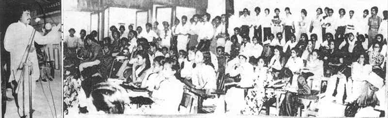 Founding member of APMSO Altaf Hussain speaking to his early supporters at the Karachi University in 1979.