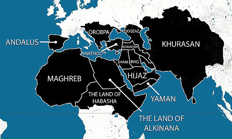 A map purportedly showing the areas ISIS plans to have under its control within five years has been widely shared online. As well as the Middle East, North Africa and large areas of Asia, it also reveals ISIS