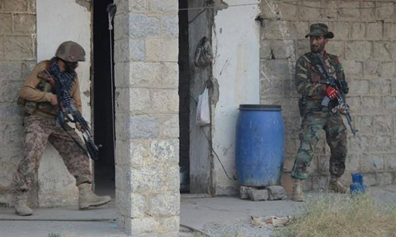Army troopers searching a vacant construction during military operation.— ISPR photo